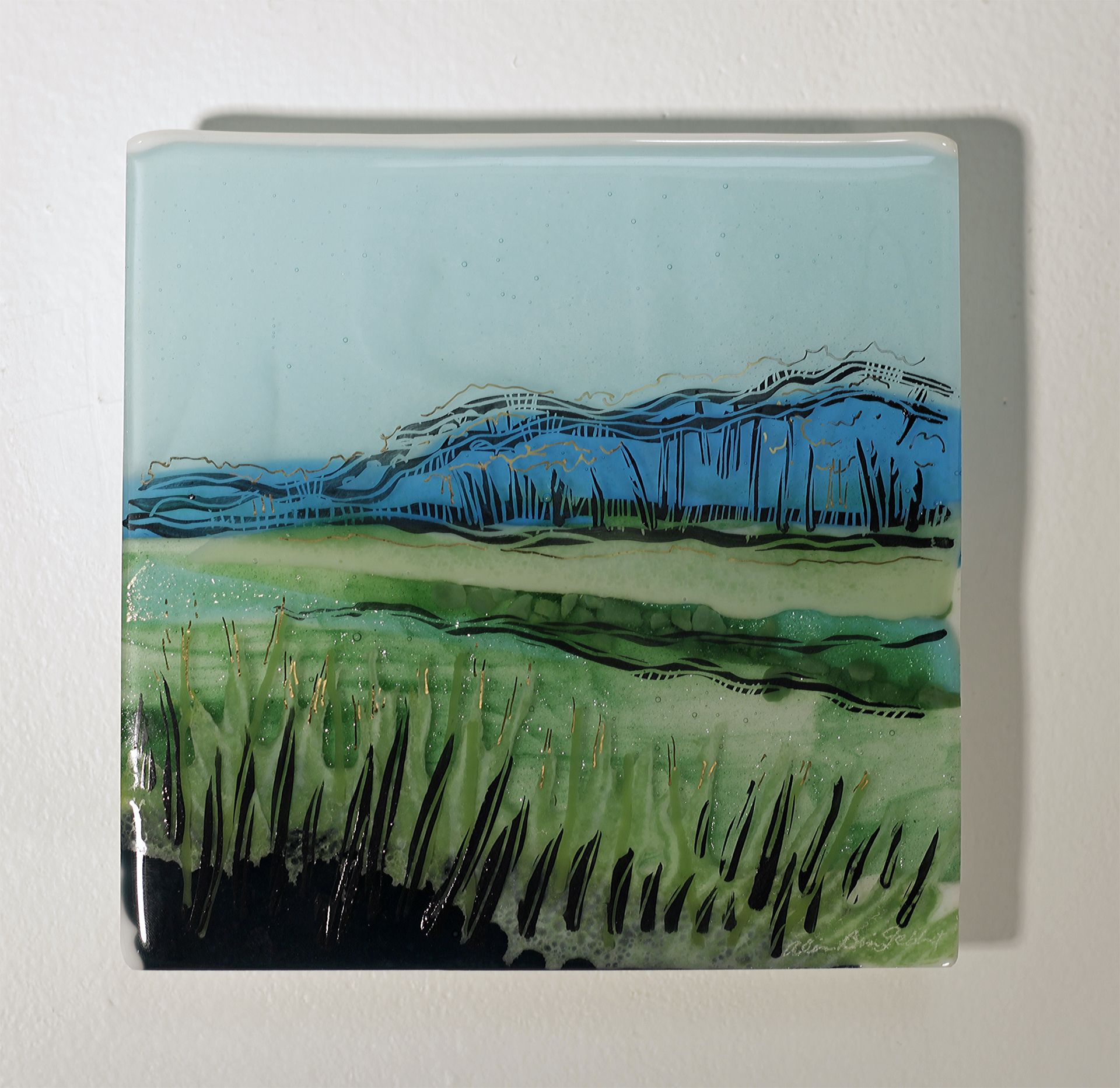 """Silent The Voice of People, Fused Glass Panel, 6""""x6""""x1"""" by Alice Benvie Gebhart"""