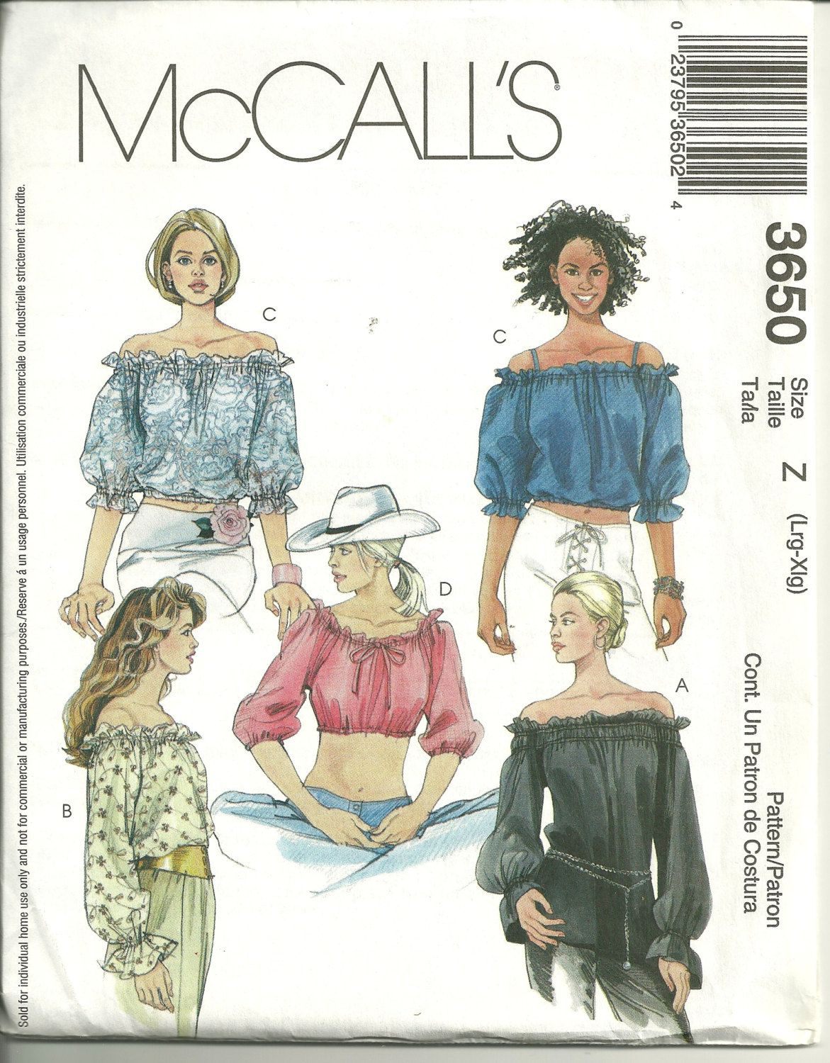 McCall\'s 3650 Off the Shoulder Ruffled Blouse Pattern Country ...