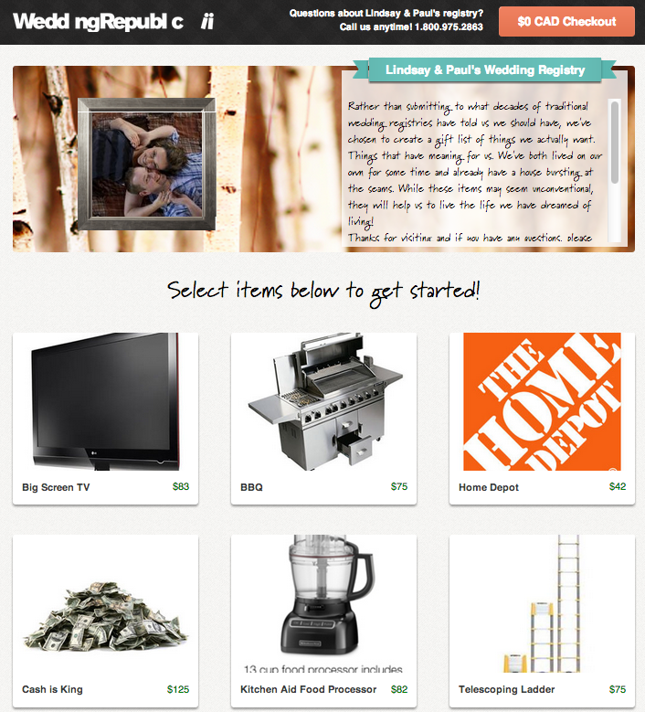 Paul and Lindsay's Featured Wedding Registry via