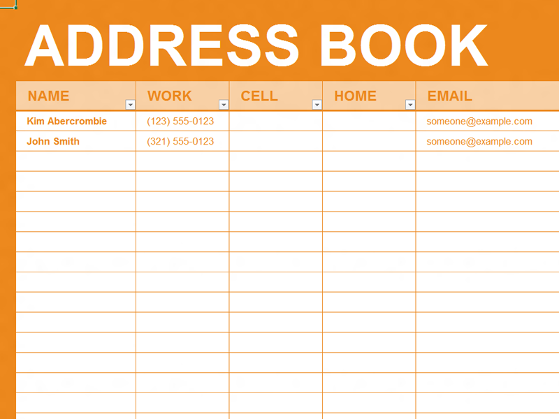Free excel template personal address book organizing for Electronic address book template