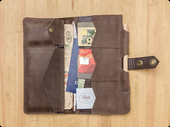 Brown leather travel holder  Made to order Travel by BlankNote