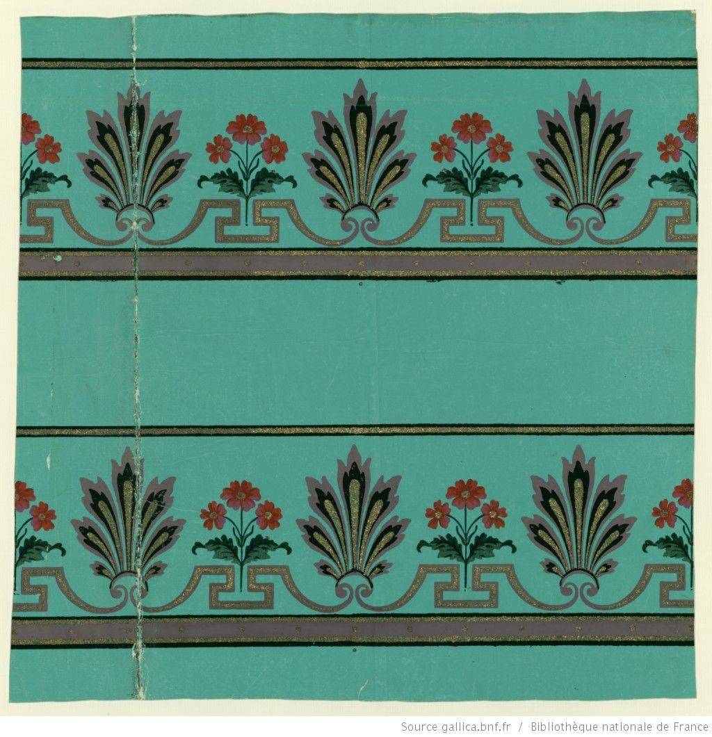 Manufacture Jacquemart Et Benard Bordure Deux Bandes De Frise Alternant Palmettes Et Fleurs Papier Peint Papier Peint Papier Peindre