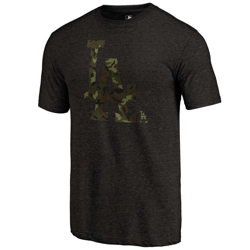 cheaper 81a6c aa023 Men s Fanatics Branded Black Los Angeles Dodgers 2018 Memorial Day Camo  Prestige Tri-Blend T-Shirt