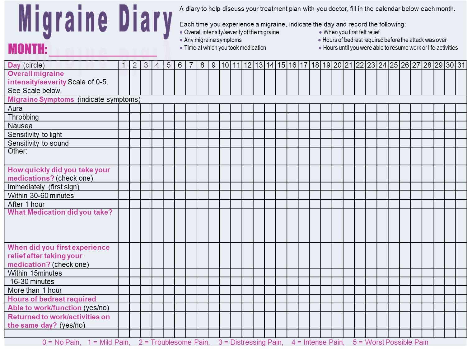 Monthly Migraine Diary To Track Migraine Occurrences Intensity And