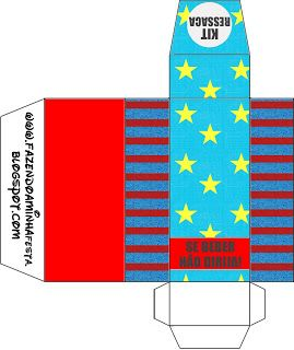 Azul, Amarelo e Vermelho com Estrelas e Listas - Kit Completo com molduras para…