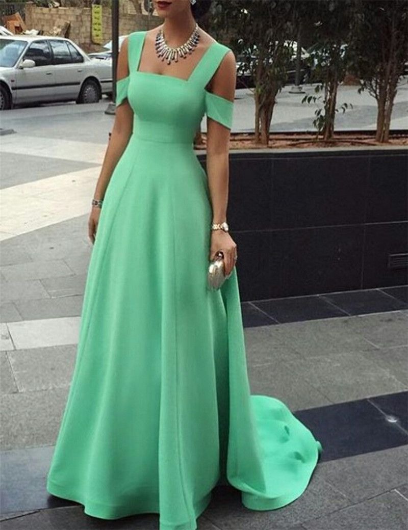 New arrival prom dress simple green long prom prom party evening
