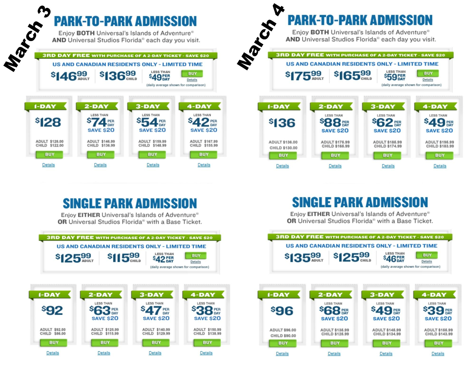 Universal S Online Ticket Prices Increased As Of March 4 2014 Most Notably A 2 Universal Islands Of Adventure Universal Studios Florida Islands Of Adventure
