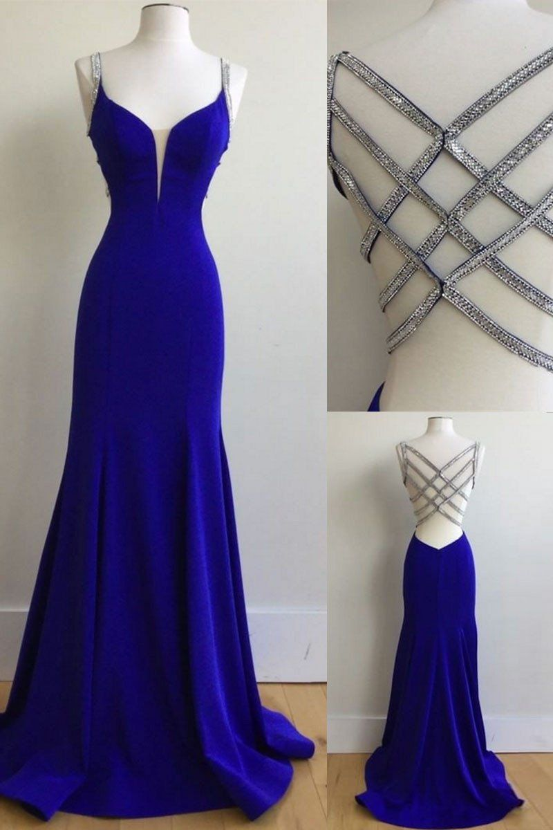 Unique royal blue sequin long prom dress, blue evening dress ...
