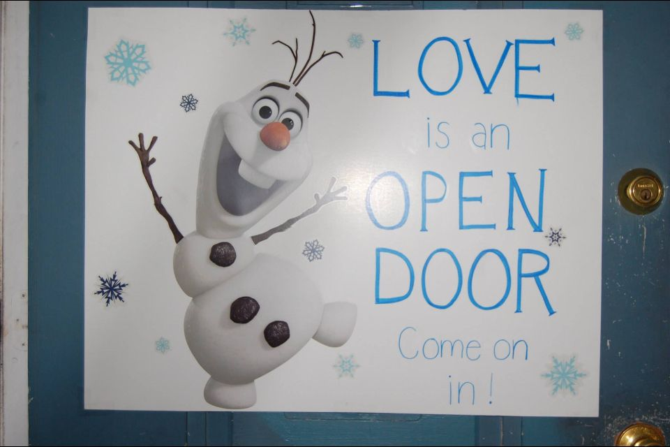 Frozen Birthday Party Olaf Love Is An Open Door Come On In Sign Olaf Birthday Party Olaf Birthday Frozen Birthday Party