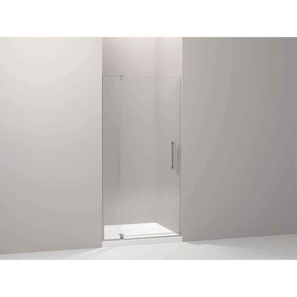 Kohler Revel 36 In W X 70 In H Frameless Pivot Shower Door In Anodized Brushed Nickel With Handle K 707510 L Bnk Shower Doors Frameless Shower Doors Shower