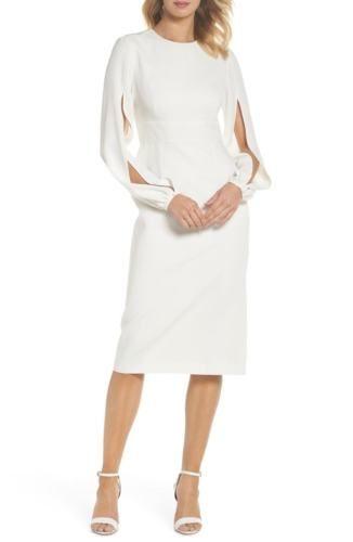 f5993e84a43 NWT-Jill-Jill-Stuart-Krystal-Crepe-Slit-Sleeve-Midi-Cocktail-Dress -4941-OFF-WHT