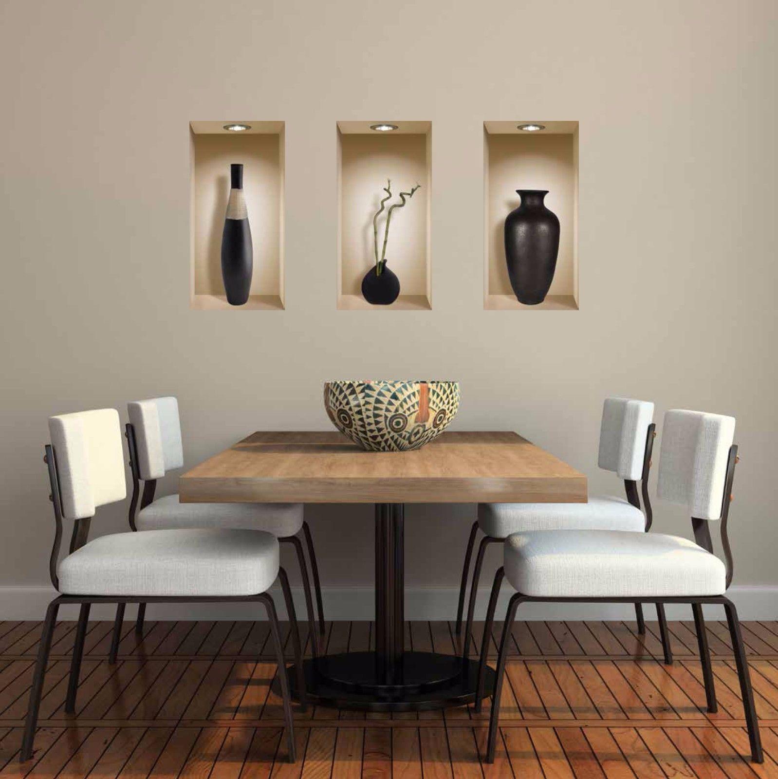 Set art black vase wall stickers d picture vinyl removable tile