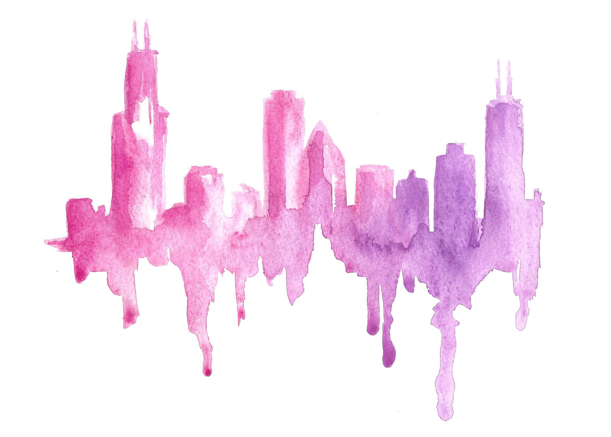 Chicago Skyline Watercolor Artist Carrie Beth Taylor Www