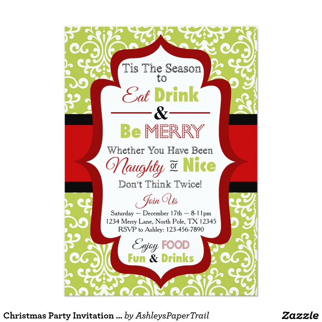 Christmas Party Invitation - Eat Drink & Be Merry | Pinterest