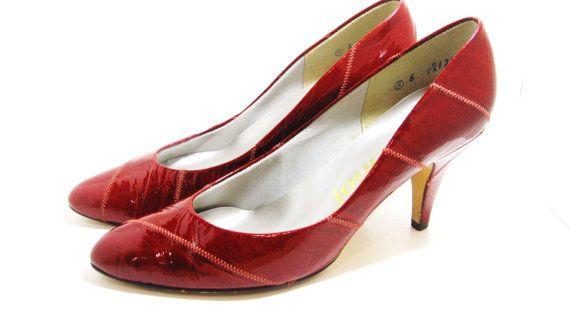 Vintage Red Eel Skin Heels by MissLizzyD on Etsy, $13.00