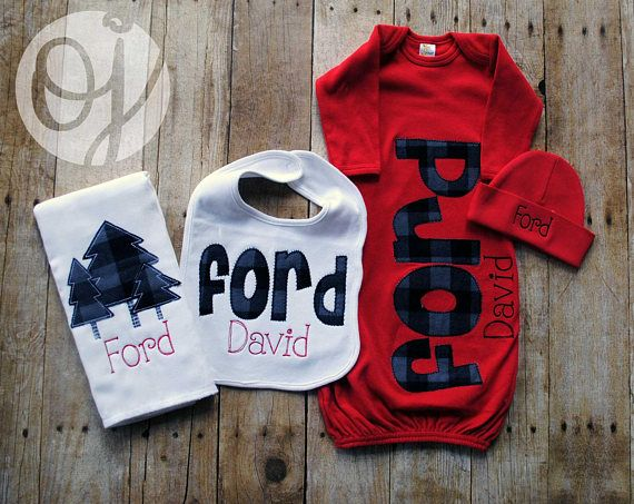 Personalized Baby Gown Boy Red Black and Gray Buffalo ...