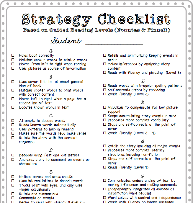 Reading Strategy Checklist - Guided Reading Level Skills | Reading ...