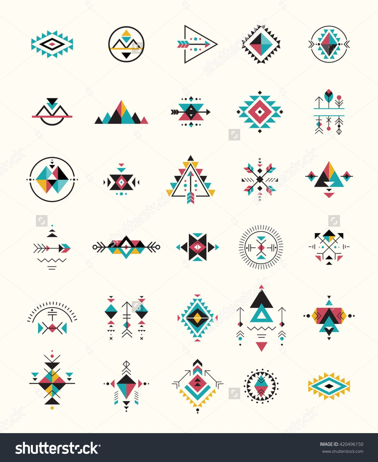 Esoteric, Alchemy, Boho, Bohemian Sacred Geometry, Tribal And Aztec, Sacred Geometry, Mystic Shapes, Symbols Stock-Vektorgrafik - Illustration 420496150 : Shutterstock #aztec