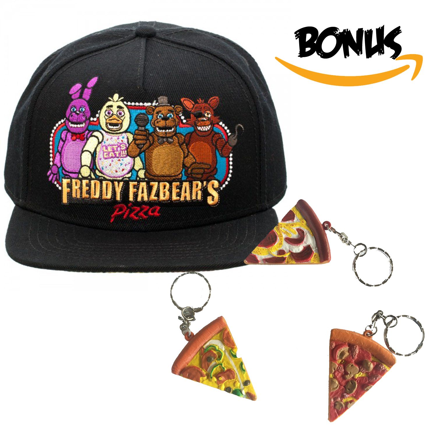 Best Five Nights At Freddys Gift Hat Cap Pizza Keychain