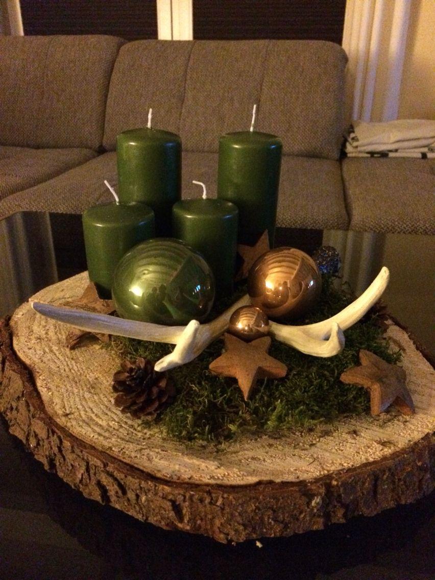 Adventskranz mit baumscheibe holz pinterest natale for Weihnachtsideen dekoration