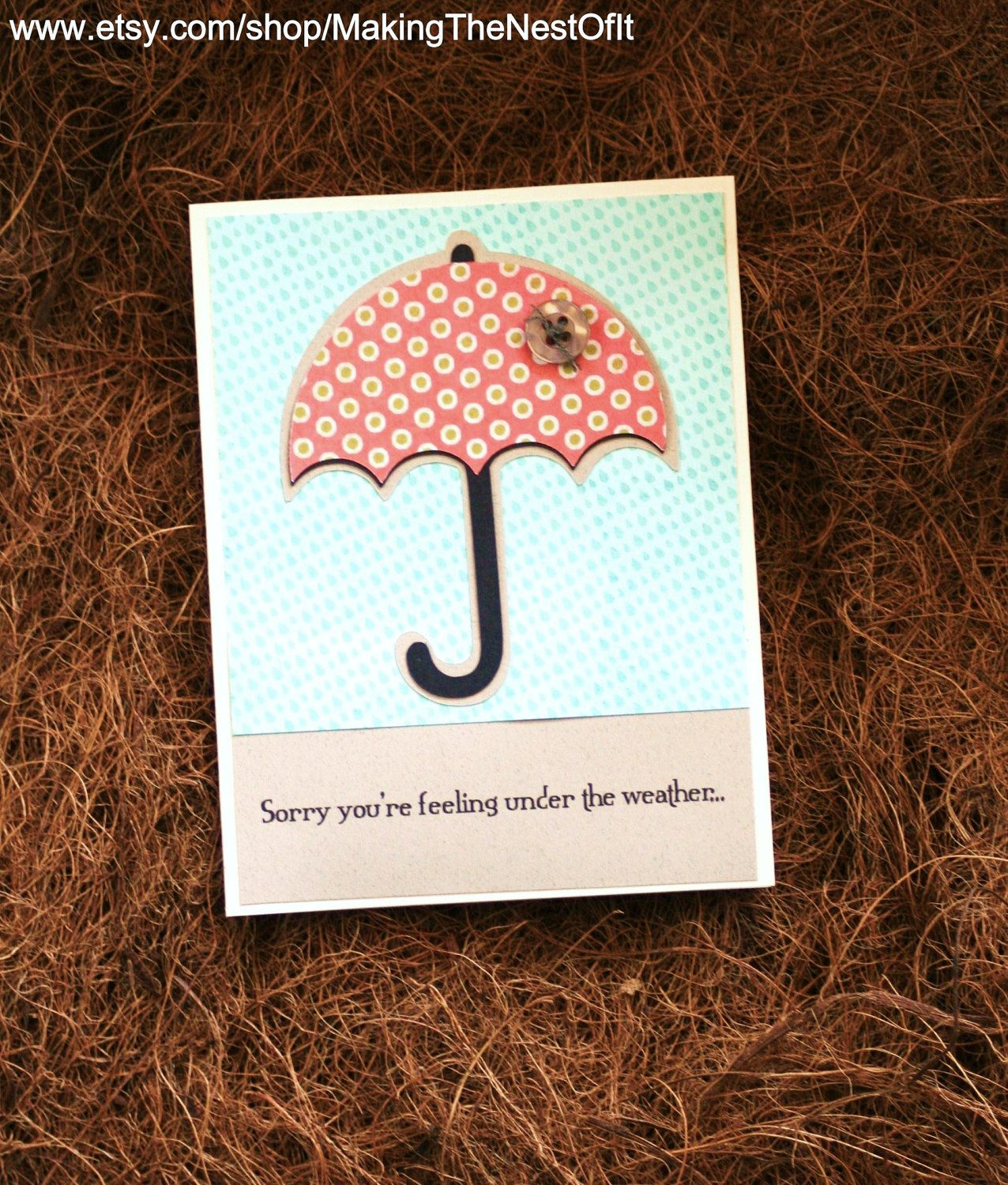 Get well card handmade greeting with pink umbrella cards