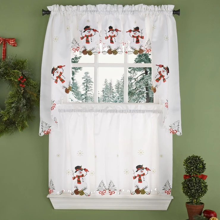Check Out The Deal On Snowman Embroidered Cutwork Kitchen Curtain At Bedbathhome Com Kitchen Curtains Curtains Tier Curtains
