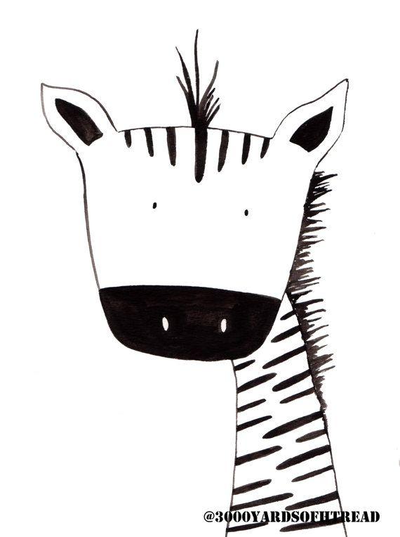 Black And White Zebra Watercolor Nursery Artwork Print Baby Room Kids Decor Gifts Under 20
