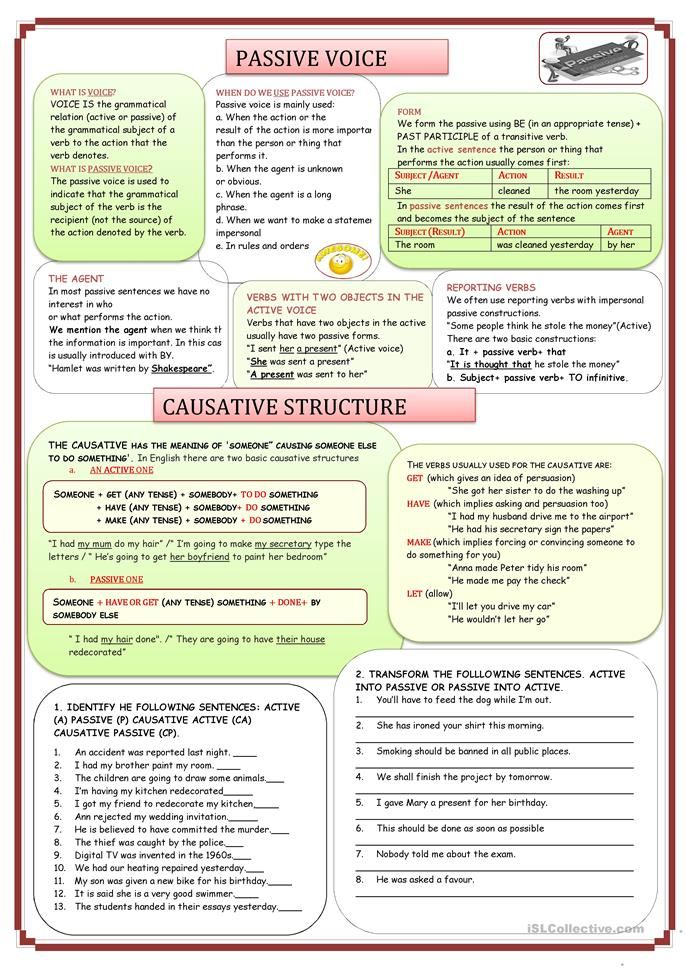 PASSIVE VOICE AND CAUSATIVE STRUCTURE   grammar and vocabulary ...