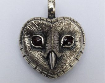 owls handmade Barn owl pendant polymer clay pendant organic jewelry