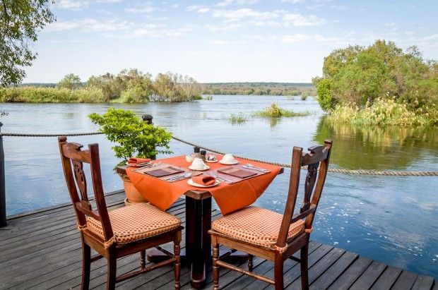 Breakfast overlooking the Zambezi River at the Islands of Siankaba in Zambia