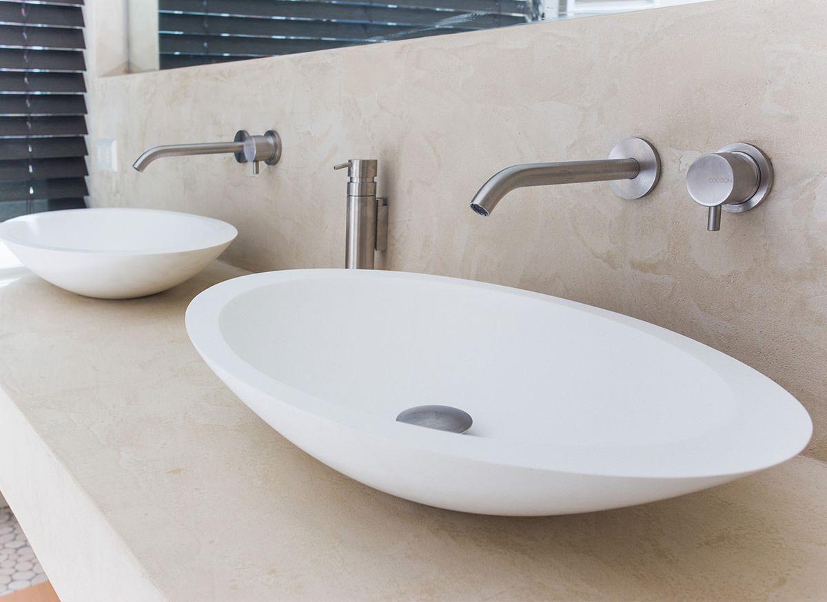 Ovale waskom van solid surface materiaal corian hi macs de cocoon