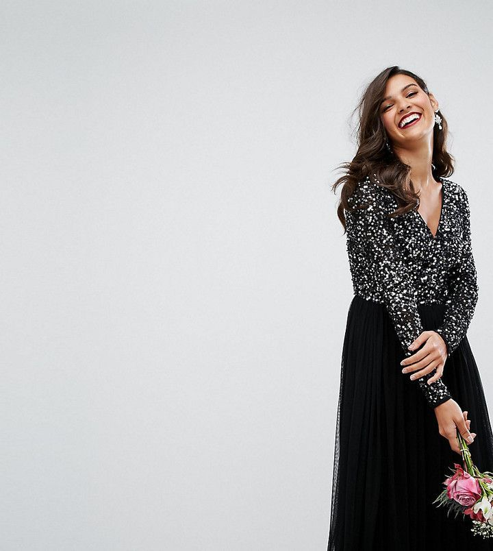 f6d3160c26a47 Maya Plunge Front Long Sleeve Maxi Dress In Tonal Delicate Sequin And Tulle  Skirt