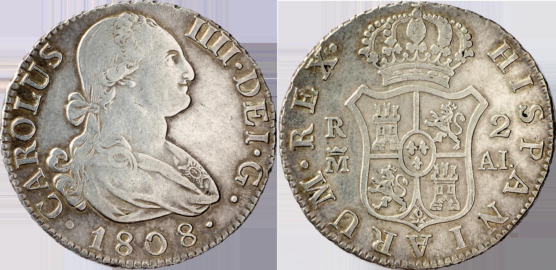 Carlos IV. 2 Reales de Plata. 1808. CT-980. EBC-.
