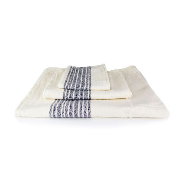 Organic Cotton Towels in Navy and White