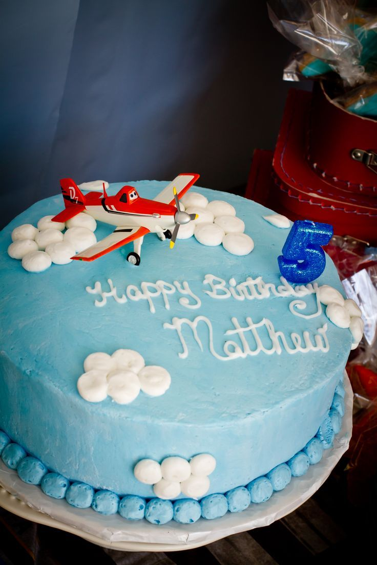 Simple Blue DisneyBirthday Cake Design with Sky Concept and Plane