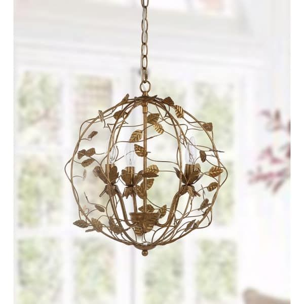 Safavieh Lighting 18 Inch Austen Gold Leaf Cage Chandelier Home