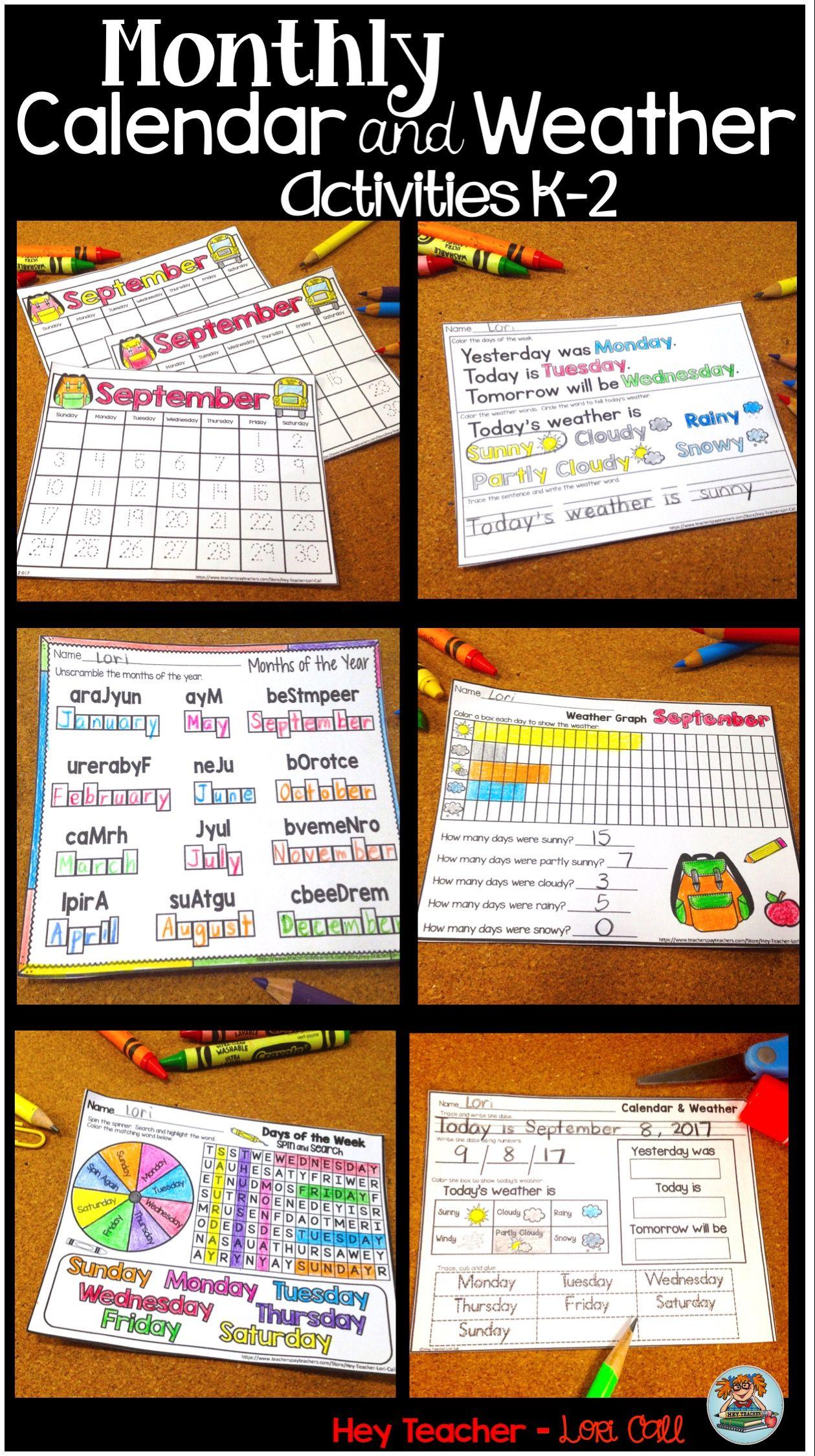 Calendar And Weather Differentiated Morning Work Kindergarten