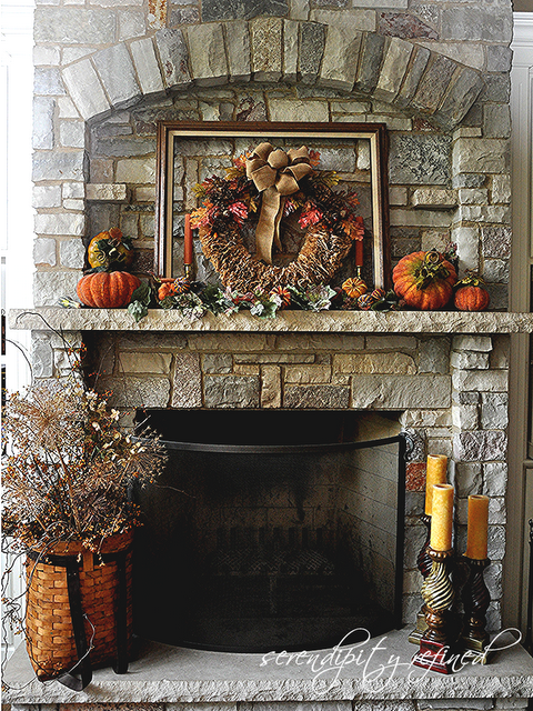 Fall Mantel With DIY Coffee Filter Wreath, Mantle Display, Rustic Fireplace