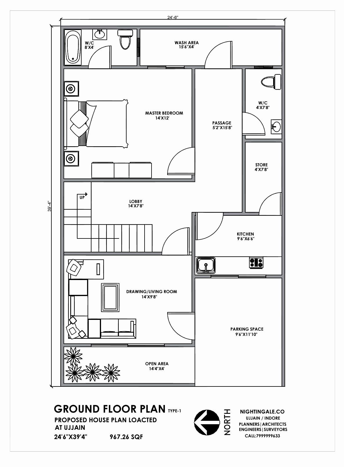 14 Foot Wide House Plans Inspirational 24 40 Ft Wide House Plans House Plan 25x40 Feet Indian Plan In 2020 20x30 House Plans Indian House Plans 20x40 House Plans