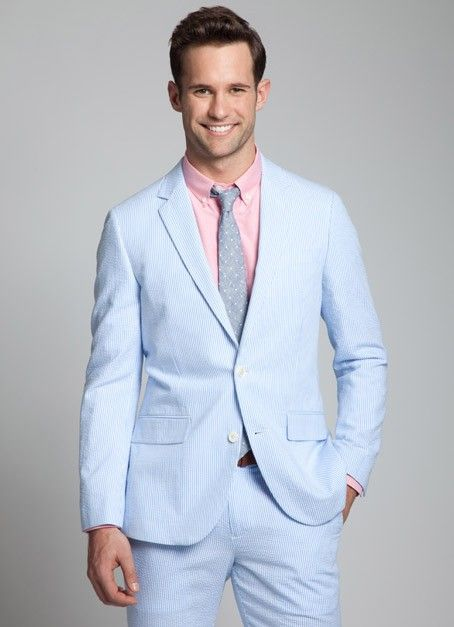 I love seersucker suits or jackets for men in the spring and ...