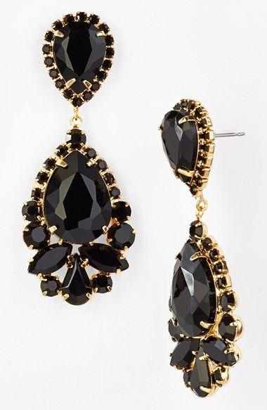 Gold And Jet Black Stone Teardrop Earrings