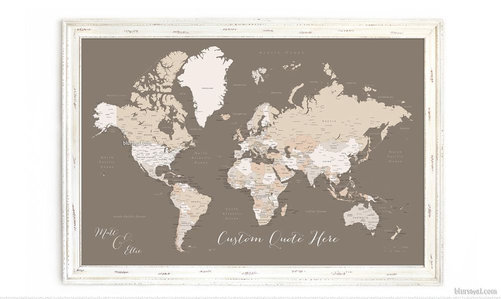 10 off all personalized framed push pin maps shades of brown 10 off all personalized framed push pin maps shades of brown world map push gumiabroncs Images