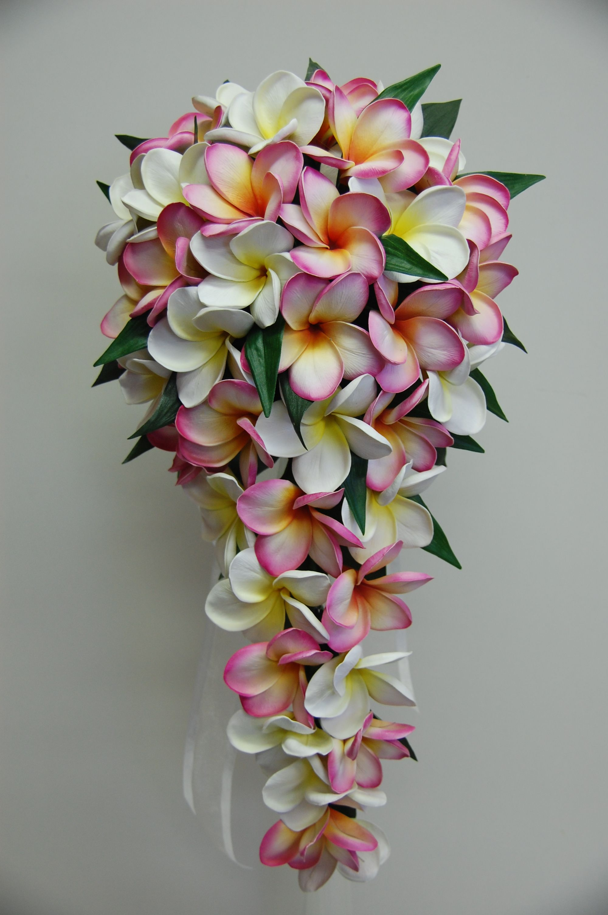 Frangipani Teardrop Bouquet Pink And White Yellow Plumeria Bouquet Wedding Floral Centerpieces Frangipani Wedding
