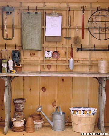Trellis organizer gardening tools and organizing for Garden shed organisation