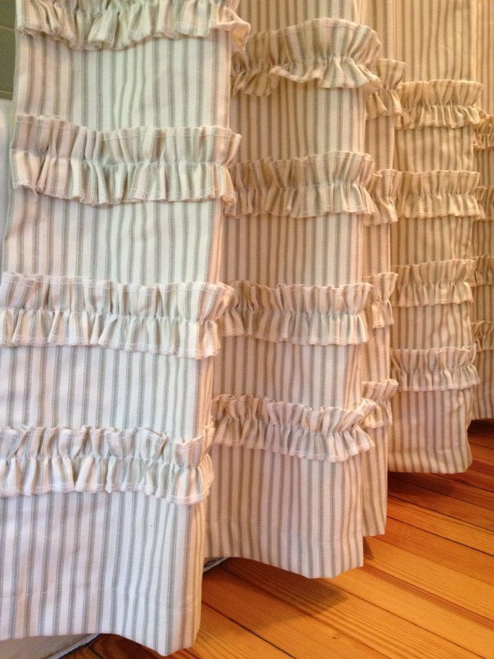 Vintage Ticking Stripe Shower Curtain With Ruffles   4 Colors IN STOCK Dark  Blue And Brown Stripes, Other Colors Made To Order
