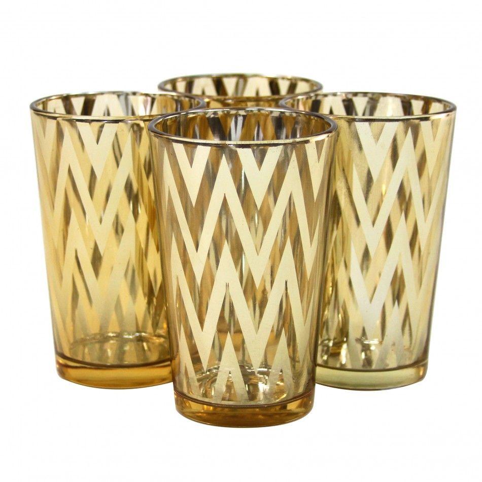 chevron votive candle holders 4 gold 4 pack 758 960504gld wholesale wedding supplies. Black Bedroom Furniture Sets. Home Design Ideas
