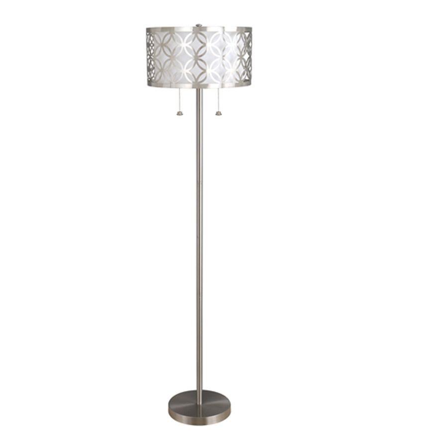 $69 allen + roth Earling 63-in Brushed Nickel Indoor Floor Lamp with ...