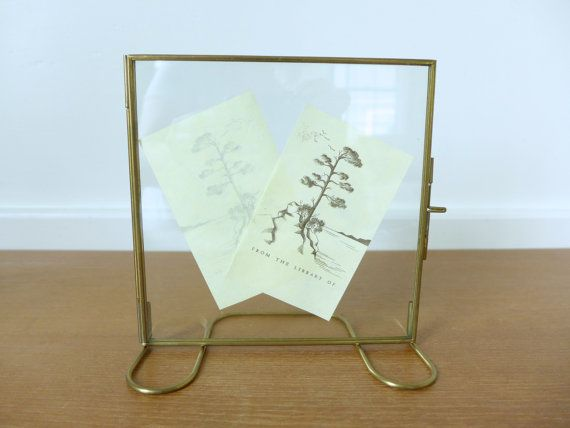 glass and brass floating picture frame double glass frame - Double Glass Frame