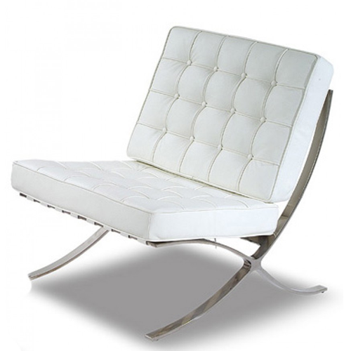 barcelona cool white leather chrome chair living room
