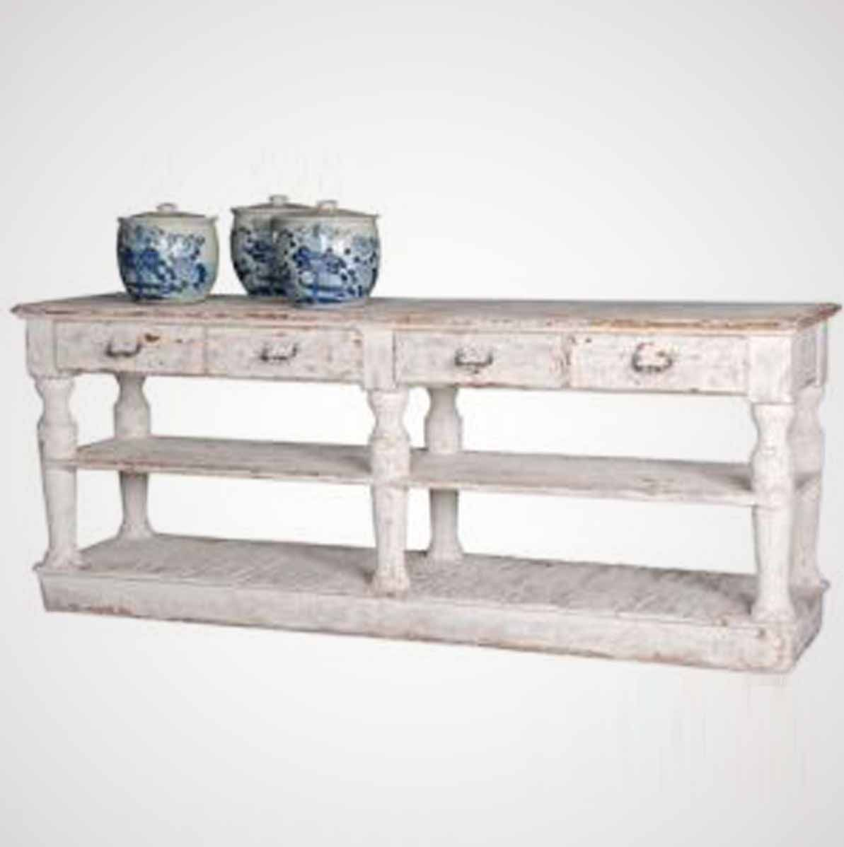 Montauk White Weathered Distressed Wood Console Table